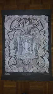!. doodle art poster. Lady of Feathers theme .!