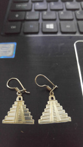 Mayan Ruins, Silver Earrings From Belize