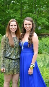 Royal blue, strapless prom dress for sale