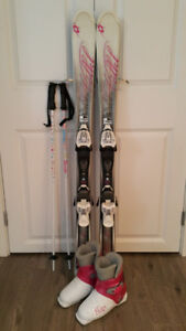 MINT girl VOLKL ski package 120cm NEW boots 20.5cm (US1), poles