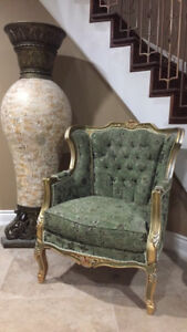 2 Light Gold/Green Arm Chairs