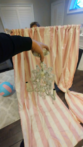 Pink Princess chandelier and silk curtains hardware pottery barn