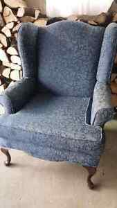 Blue wing back chair.