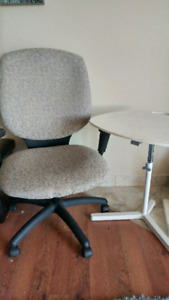 Office Chair and adjustable table in excellent condition