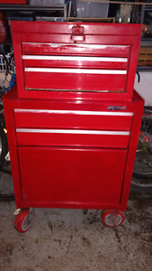 2 Piece 7 drawer Waterloo Toolchest with tools on wheels
