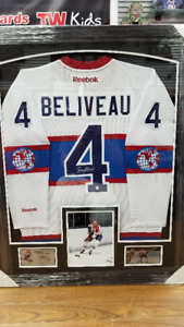 CADRE NEUF CHANDAIL HOCKEY SIGNÉ JEAN BELIVEAU MONTREAL CANADIEN