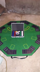 Poker table top and chip kit