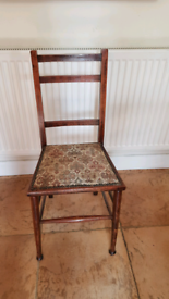 Slim occasional wooden chair with tapestry seat