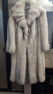 NORWEIGN BLUE FOX FUR COAT FULL LENGTH