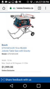 Deal of a life time ! 2018 bosch table saw