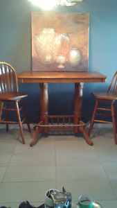 Solid Wood,Bar stool kitchen table, with 2 chairs and foot rest.