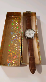 Men's brown strap watch stainless steel