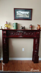Vintage Cherry Wood Fireplace Mantel Surround