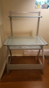 Two tiered tempered glass computer desk