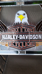 Harley Davidson stained glass sign
