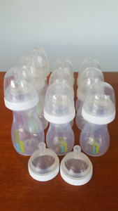 22 Baby Bottles and Nipples (various brands and sizes)