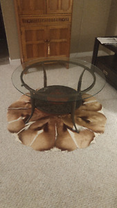 Glass, wood and steel coffee table