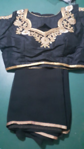 Designer: Plain Black Saree with Designer Blouse