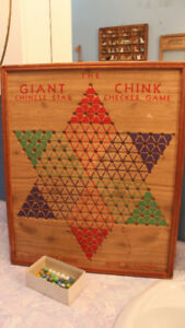 Large Antique Chinese Checkers & Rummy Board with Marbles