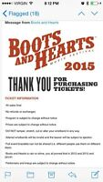 2 tickets for boots and hearts