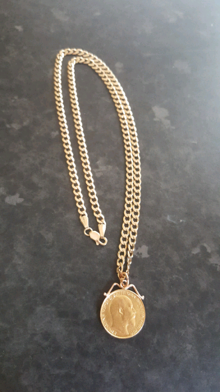efaf005de21e0 9ct gold chain with sovereign coin   in Plymouth, Devon   Gumtree