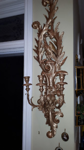 Antique/Vintage Large Italian Carved Gilt Candle Sconce