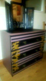 Chest of drawers Art Deco Brown Black Gold