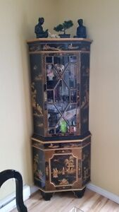 Oriental Corner hutch for dinning room or living room
