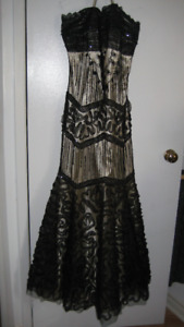 Formal Gown - black lace and beads on skin tone fabric - S16