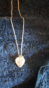 10Kt gold heart locket and chain