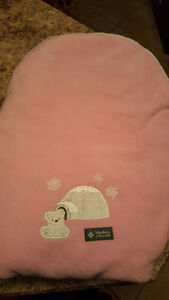 Polar Bear Baby Car Seat Cover; Warm & plush - pink/white