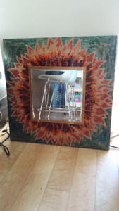 "Extra Large Mirror Framed 32"" x 32"" Glass Mosaic Fire Sun"
