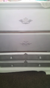 Antique silver painted wood drawer