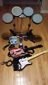 Rock Band 2 band kit for XBOX 360:  drums, 2 guitars, mic + game