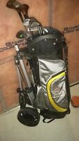 Golf clubs with bag and 2 hand carts
