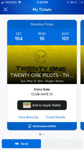2 Twenty One Pilots Tickets -Vancouver