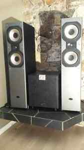 """Soundstage towers and 12"""" powered sub"""