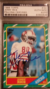 JERRY RICE Autographed Rookie Card PSA/DNA Authenticated Auto