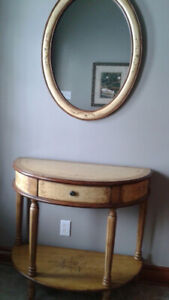 Side Table and Matching Mirror
