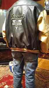 HARLEY DAVIDSON JACKET REAL THICK LEATHER-GREAT SHAPE $200.