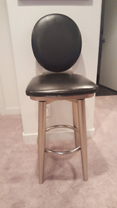 Bar Stools - Black leather and silver