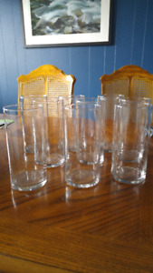 Set of 9 clear glass vases