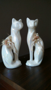 Vintage mother of pearl glazed cat decor