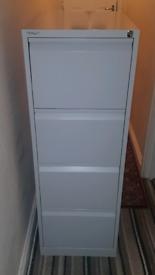 Ex.Cond Bisley 4 Drawer Filing Cabinet Light Grey plus Key