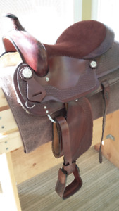 Brand new Western saddle with stand
