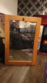 Bevelled edge Oak mirror