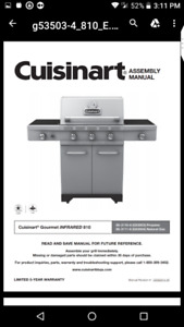 New Cuisinart Stainless Steel  Barbecue (Propane) + Rotisserie