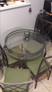 Dining table table, glass and metal