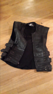 Leather Vest with back protection.