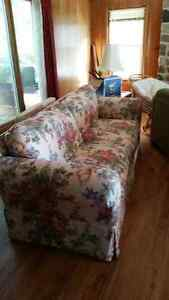 Floral Couch, Chair & Ottoman